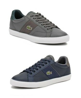 f10c9a7bf3ae Lacoste Mens Navy Blue or Grey Trainers Fairlead 317 2 Leather Casual Shoes