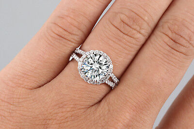 3.00 Ct Round Cut D/vs2 Halo Diamond Engagement Ring Enhanced 14K White Gold