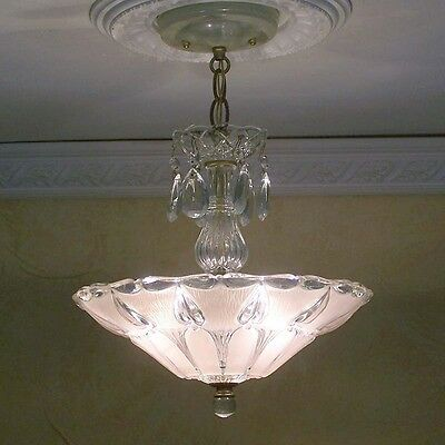 179 BEAUTIFUL  arT Deco Vintage Ceiling Lamp Fixture Glass Chandelier 3 Lights
