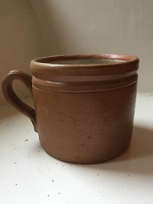 french vintage rustic stoneware confit pot with handle