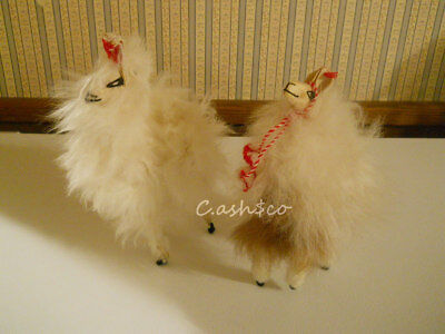 Genuine Alpaca Fur figures soft fluffy LLama Handmade Peru lot of 2           RR
