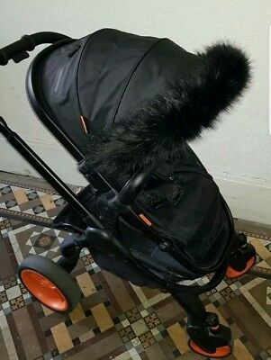 BLACK luxury faux fur hood trim for pram/ buggy icandy peach/strawberry/orange