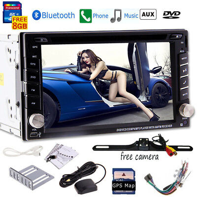 Free Camera+Double DIN Car Stereo DVD Player GPS NAVI Bluetooth FM/AM Radio AU