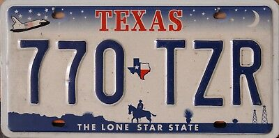 USA Number Licence Plate TEXAS THE LONE STAR STATE SPACE SHUTTLE