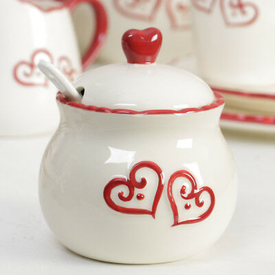 Country Cream Rustic Style Sugar Bowl with Ceramic Spoon and Red Heart Topper