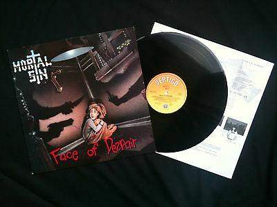 Mortal Sin - Face Of Despair LP UK 1989 VG+/EX Thrash / Speed