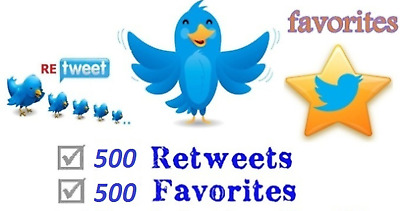 500 Twitter/Retweets And 500/Favourites/Likes For Your Tweet [READ DESCRIPTION]