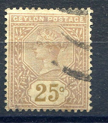Ceylon 1886 25cents yellow-brown, variety value in yellow SG198a used