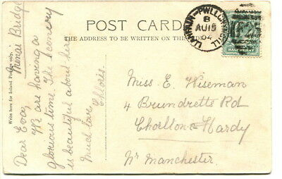 "GB 1904 PPC ""Menai Bridge"" with ""Llanfair-Pwllgwyngill / F25"" duplex cancel"