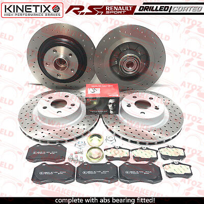 For Renault Clio Sport 197 200 F1 Front Rear Drilled Brake Discs Brembo Pads Kit