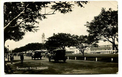 "Malaya – Singapore 1920's photographic b/w PPC ""Connooght Drive"""