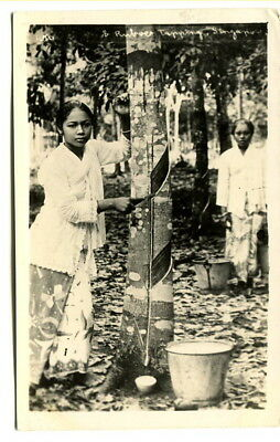 "Malaya – Singapore 1920's unused photographic b/w PPC ""Rubber Tapping"""