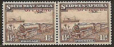 SOUTH WEST AFRICA 1945 KGVI OFFICIAL 1½d TRAIN SG019 SPECTACULAR MISPLACED OVPT