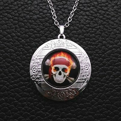goth PIRATE ON FIRE FLAG BANDANNA LOCKET OPENS Glass Necklace Silver Gothic