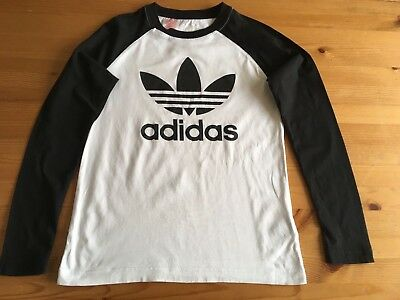 boys adidas long sleeved black/white tshirt age 11-12 with trefoil logo