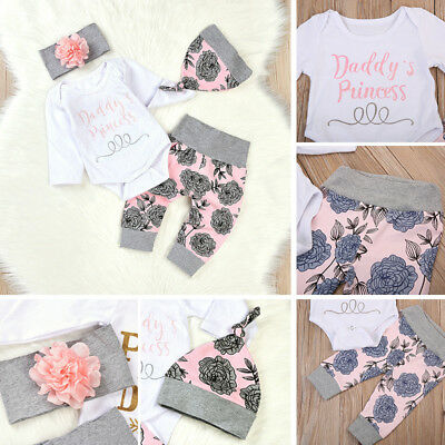Newborn Baby Girl Princess Long Sleeve Tops Romper Pants Hat Outfits Clothes Set