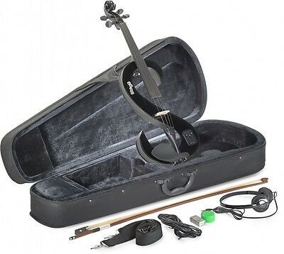 EVN 4/4 BK 4/4 E-Violine Set in S-Form in Schwarz, Softcase