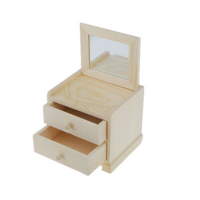 Natural Unfinished Wood Jewelry Box Wooden 2 Layers Drawers Case