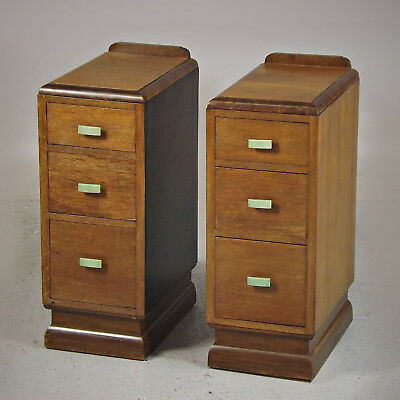 Bedside Cabinets / Drawers - Pair, Art Deco, Oak & Walnut (delivery available)