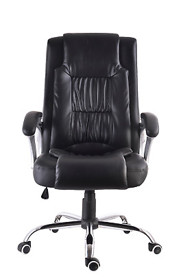 High Back Office Chair Black Leather Executive Ergonomic Computer Chair