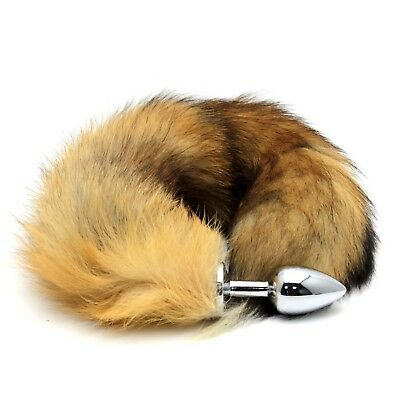 Pop Faux Fur Fox Tail Toy with Stainless Steel Plug Cosplay Funny Accessories