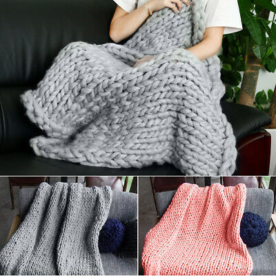 Large Soft Hand Chunky Knit Blanket Thick Yarn Wool Bulky Bed Knitted Throw AU