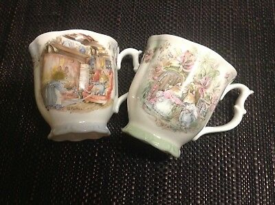 "Pair of ROYAL DOULTON BRAMBLY HEDGE Coffee/Tea Mugs ""Summer and Winter"""
