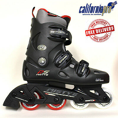 California Pro Misty Ii Inline Roller Skates Kids Adults Black Red Grey Uk Sizes
