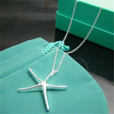 Discount Womens 925solid silver Pendant starfish necklace Fashion jewelry