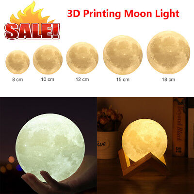 3D Print Moon Light USB Charging LED Night Light Touch Sensor Deske Moon Lamp US