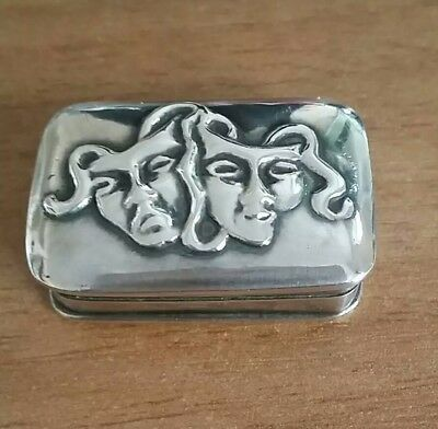 Ari D Norman sterling silver pill box. comedy and tragedy.