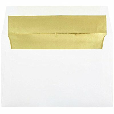 "JAM Paper A9 Foil Lined Invitation Envelopes - 5 3/4"" x 8 3/4"" - White with G..."