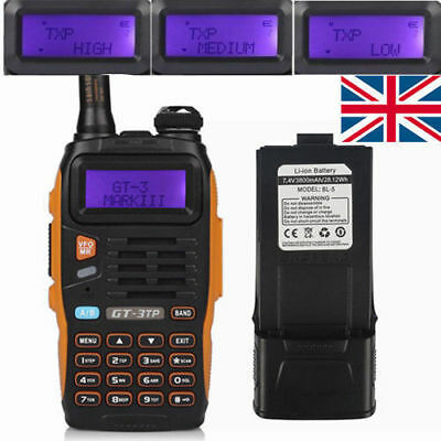 3800mAh  Baofeng GT-3TP MKIII V/UHF Tri-power 1/4/8W Walkie Talkie UK Stock