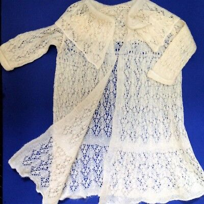 60's Vintage - Toddler Girls Knitted Lace Cream Coat Jacket  -  Wool Blend
