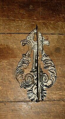 Vintage Victorian Wall Mount Receipt Holder Cast Iron Hook Harp Design