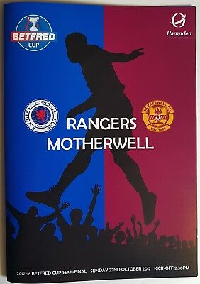 BETFRED CUP SEMI-FINAL 2017 ~ RANGERS v MOTHERWELL ~ 22/10/17 ~ PIRATE PROGRAMME