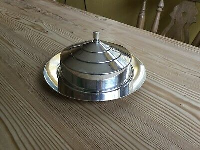 "Silver-plated lidded butter/cheese dish 6.25"" diameter"