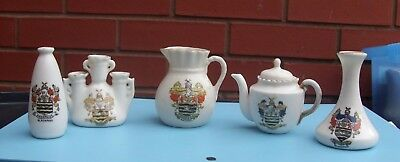 """Five White Crested China Ware Items """"blackpool"""""""