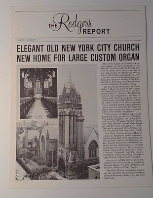 Rodgers Report Volume 3 #1 Rodgers Organ News Holy Trinity Church NYC