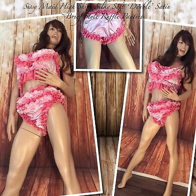 Sissy Maid High Shine Silky Soft Double Satin Brief Ruffle Panties (Pink/Coral)