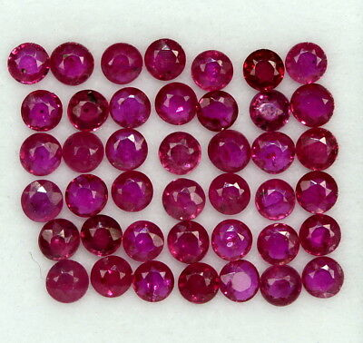 1.75 Cts Natural Ruby Round Cut 2.25 mm Lot 30 Pcs Red Shade Loose Gemstones