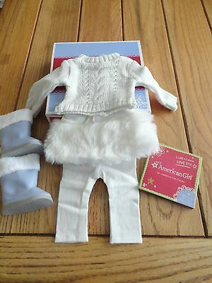 American Girl Myag Soft As Snow Outfit & Boots  + Charm New In Box Retired