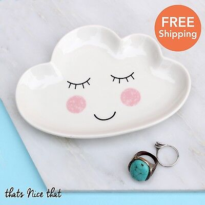Happy Cloud Trinket Dish Jewellery Gift Home Vintage Ring Necklace Bowl For Her