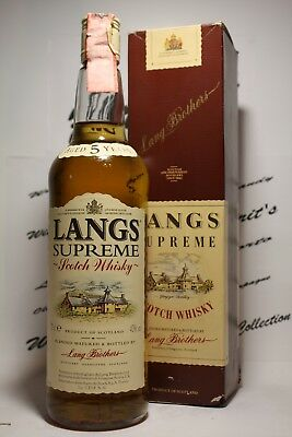 Whisky Langs Supreme aged 5 years + box , very old , cl 0,70 , 40%