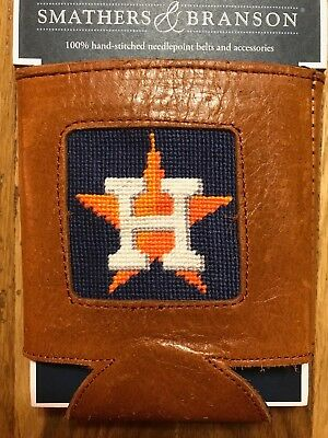 Smathers & Branson Houston Astros Leather & Needlepoint Can Holder/koozie - New