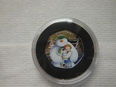 ISLE OF MAN 2014 SNOWMAN AND THE SNOWDOG COLOURED 50p COIN UNCIRCULATED