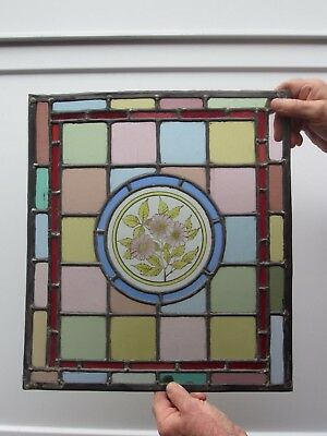 Old  Victoria Hand Painted Stained Glass Panel Of A Flower. circa.1900