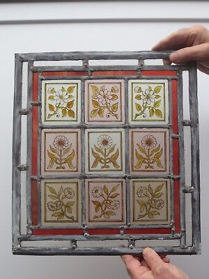 Old Hand Painted Arts & Crafts  Stained Glass Flower Panel circa.1900