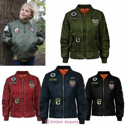 Clearance Kids Girls MA1 Flight Badge Retro Military Bomber Harrington Jacket