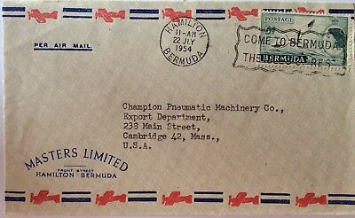 Air Mail Cover. Bermuda. QE II 6d With Clear And Interesting Slogan Postmark.